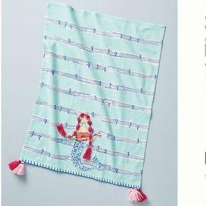 """NEW! Anthropologie """"Mermaid Dish Towel"""" w Tassels"""